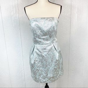 Forever 21 Blue and Silver Strapless Dress